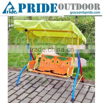 Lovely Cartoon Safety Baby Cradle Swing Metal Kids Patio With Canopy