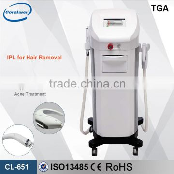 home use IPL RF hair removal and skin rejuvenation machine with 2 handle pieces