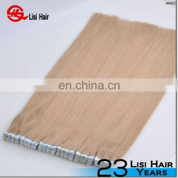 PU skin weft hair, 100% remy human hair weft silky straight color 60 , Pu tape weft hair
