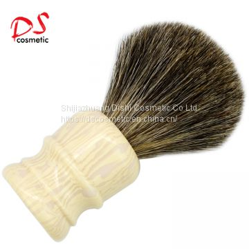 Barber White Resin Long Handle With 24mm Pure Badger Shaving Brush With Custom Logo