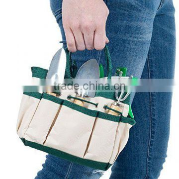 Outdoor Multi Pocket Gardening Tool Kit Holder Oxford Bag 4 Side Pouches