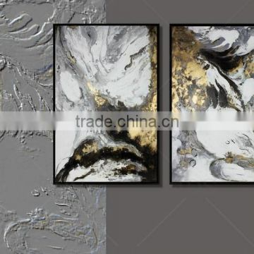 New Designed oil painting on canvas with golden foil for wall art