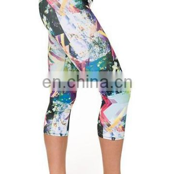 printed knitted leggings/ stretch yoga pants