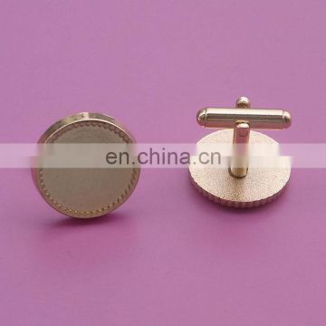 Promotional golden round shape blank logo metal cufflinks