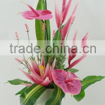 Artificial flower bonsai with anthurium & lavender & ginger/artificial flower wholesale China supplier for home decor
