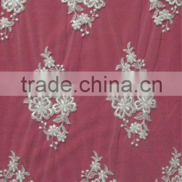 Rose Flower Silver Corded Lace