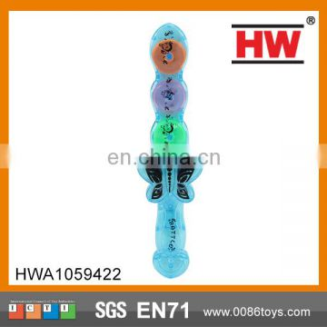 Lovely Plastic Transparent Kids Rattle Sword Toy