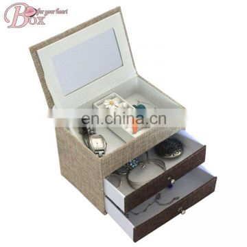 Best Selling Fabric Lovely Pattern Mirrored Jewelry Box with Drawer