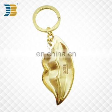 lip shape custom made metal gold plating keychain