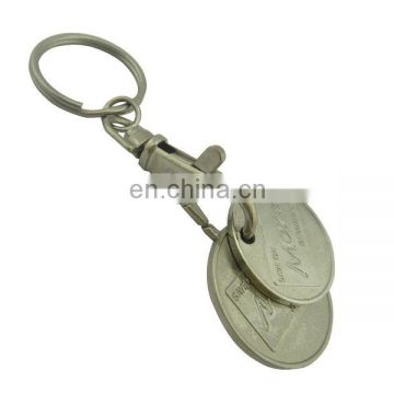 custom metal plated coin holder keyring trolley token