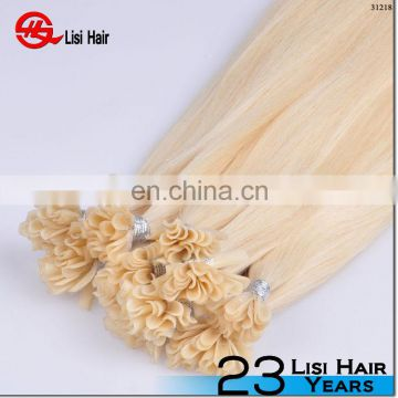 Top quality remy human russian Blonde I Tip / Nail Tip /Flat Tip Pre bonded Hair Extension
