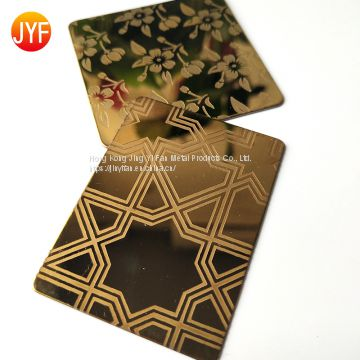 Stainless Steel Etching Sheets Gold Color  for decoration luxury hotel wall panels