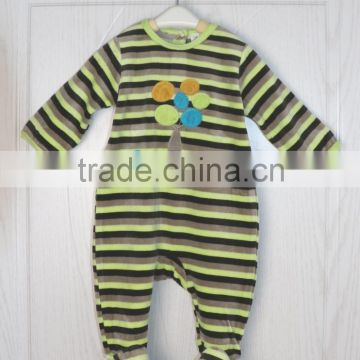 China cheap striped bodysuit cotton footed pajamas newborn baby clothes romper