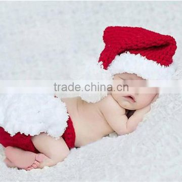 Crochet Christmas Costume Hat&Diaper/Pants Set Newborn Baby Photo Props Toddler Santa Photography Props