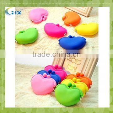 Promotion colorful Gift Silicone Heart Shape Coin Purse