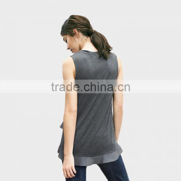 Alibaba China Ladies Sleeveless Irregular T-shirt 100%Cotton T-shirt