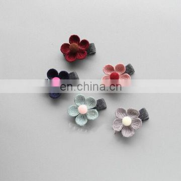 Vintage Mini Flower Hair Clips Pom Pom Hair Clippie Flower Girl Barrettes Pastel Baby Hair Clips