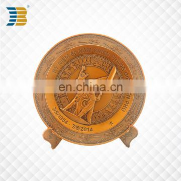 Vietnam custom copper souvenir plate with wodden base