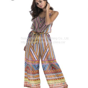 Sleeveless Bohemian Style Printing Loose Women's Jumpsuit