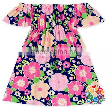 Elegant Girls Boutique Clothing Flower Dress Casual Offer Shoulder Flamingo Smocked Dress