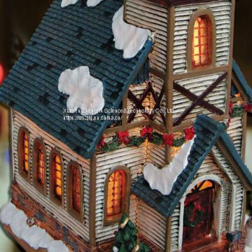 Christmas church house with LED lights 9L LED Musical Ski Scene with  Polyresin Christmas House Decoration
