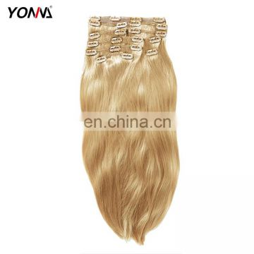 Wholesale fashion body wave hair extensions blonde 613 100% brazilian virgin hair extension clip in human hair