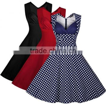 Walson Womens 50's Rockabilly Vintage Style Polka Dot Evening Party Tea Dresses Swing Skaters