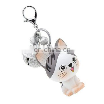 cat plastic Pendant Keychain with bell factory direct