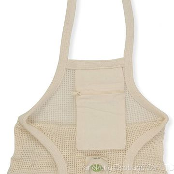 Reusable Grocery Bags - Organic Cotton Mesh Net Bag with Handles | Reinforced Bottom | Shopping, Groceries, Beach Tote, Produce Bag, Fruit & Vegetable Storage | Machine Washable, Eco Friendly (3 Bags)