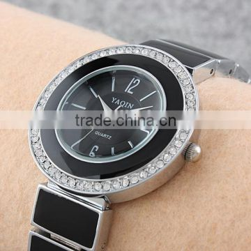 New hot black dial sale Luxury Jewelry Watches Fancy Women Rhinestone Hearts Dress Pendant Chain Leather Quartz Watch LD065