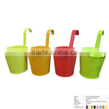 B054 Set Of 4 Home Galvanized Iron Hanging Flower Bucket Flower Pot With Holder and Handle
