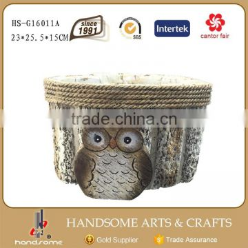 25.5 CM Outdoor Garden Decorative Owl Statue Flower Pot