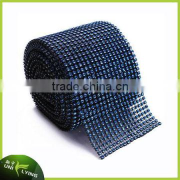 Wholesale Hotfix Plastic Rhinestone Crystal Ribbon Trimming Lake Green Mesh For Dress