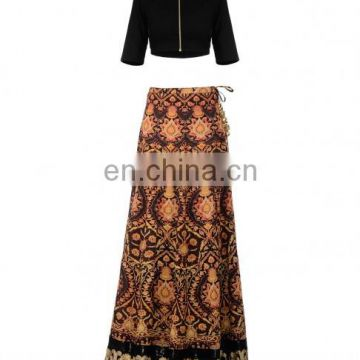 Black lengha Set with Persian Prints