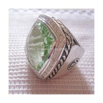 Sterling Silver Jewelry 20mm Albion Ring with Prasiolite and CZ's(R-212)