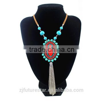 Native American Turquoise Beads Embroidery Pendant Tassel Leather Rope Necklace Bohemian Jewelry Collier Femmes Boheme Pompon