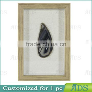 1PC Customized shadow box wall art with color natural agate stone under glass