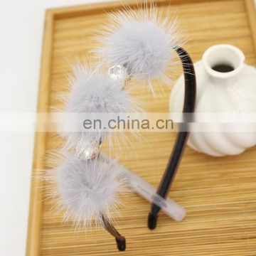Cute real mink fur headband for girl women with mink fur pom poms