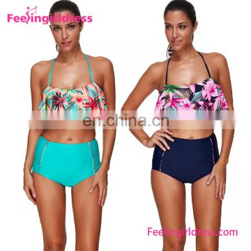 New Design Flower Crop Top Two Piece 2017 Women Swimwear Brazilian Bikini