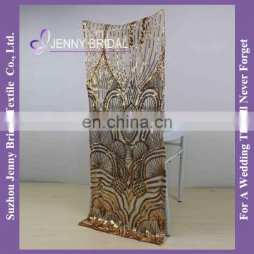 C443A wedding chair cloth sequin fabric gold antique chair covers