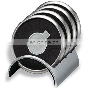 Hot sale Black box Metal Leather engraved logo customized cup coaster