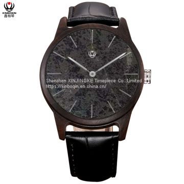 XINBOQIN Factory Custom LOGO Stylish for Men Luxury Movt Quartz Natural Stone Dial Wood Watch