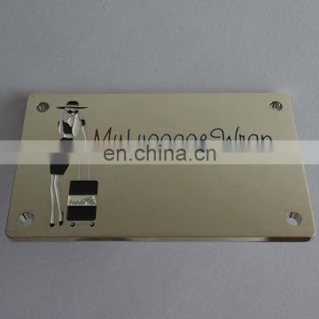 Casting Alloy Enamelled Logo MY LUGGAGE WNAP Bag Silver Plate Decor Label