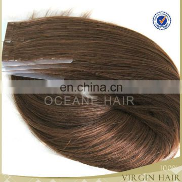 Chocolate hair extension brazilian wool scale hair tape hair tape in hair