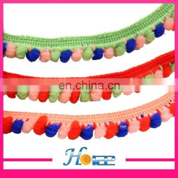 Wholesale 1.5 cm width colorful pom pom lace trim for garment shoe