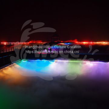 Music dancing large water show fountain, outdoor beautiful show with LED and Lares and Fire