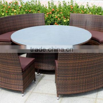 Hot Sale Outdoor Synthetic Resin Round 4,5,6,8,10,12 Seat Table Chairs Sofa Set Poly Rattan Garden Furniture                                                                         Quality Choice