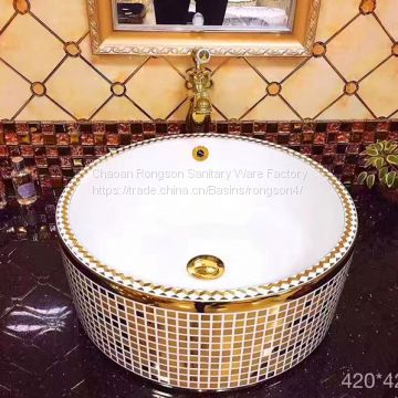 2018 big size square luxury colorful no hole Good sale ceramics recetangle wash hand art basin
