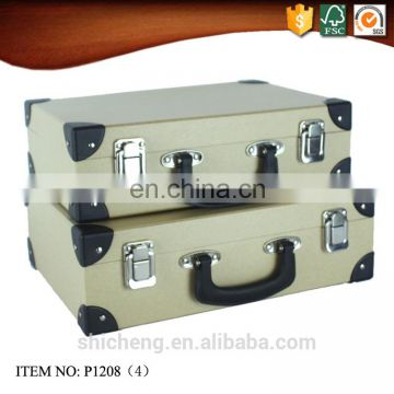 Kraft Paper Cardboard Suitcase Portable Box with Handle for Children