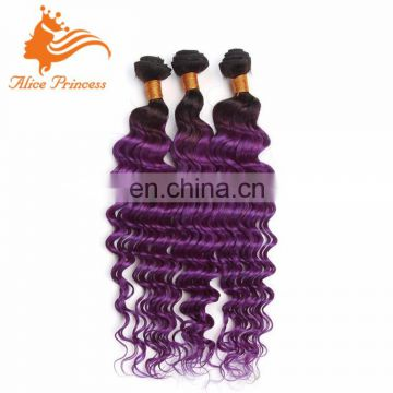 Best Selling 5A Grade Ombre Purple Color Human Remy Indian Hair Weft Virgin Hair Extension